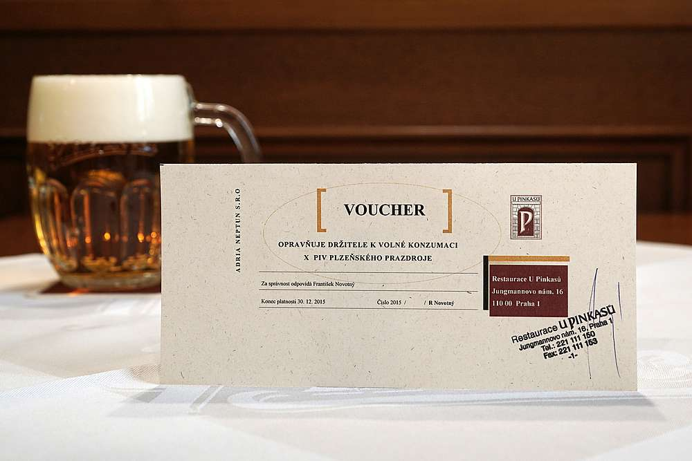 Beer Voucher at Pinkas U Pinkasu Restaurant